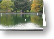 Central Park Photo Greeting Cards - Sailboat Pond Panorama Greeting Card by Christopher Kirby