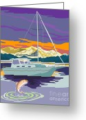 Trout Digital Art Greeting Cards - Sailboat Retro Greeting Card by Aloysius Patrimonio