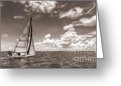 Sepia Greeting Cards - Sailboat Sailing on the Charleston Harbor Sepia Beneteau 40.7 Greeting Card by Dustin K Ryan
