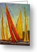 Sailing Ships Greeting Cards - Sailboat studies 2 Greeting Card by Julie Lueders