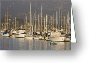 Harbors Greeting Cards - Sailboats Docked In The Santa Barbara Greeting Card by Rich Reid