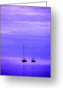 Mooring Greeting Cards - Sailboats in Blue Greeting Card by Timothy Johnson