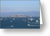 Bay Islands Greeting Cards - Sailboats In The San Francisco Bay Overlooking Alcatraz . 7D7862 Greeting Card by Wingsdomain Art and Photography