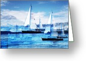 Sea Scape  Greeting Cards - Sailboats Greeting Card by MW Robbins