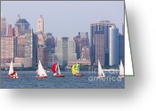 Boats Greeting Cards - Sailboats on the Hudson I Greeting Card by Clarence Holmes