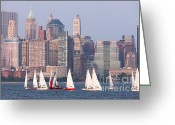 Boats Greeting Cards - Sailboats on the Hudson II Greeting Card by Clarence Holmes