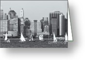 Boats Greeting Cards - Sailboats on the Hudson IV Greeting Card by Clarence Holmes