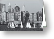 Boats Greeting Cards - Sailboats on the Hudson V Greeting Card by Clarence Holmes