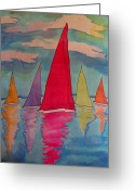 Transportation Tapestries - Textiles Greeting Cards - Sailboats Greeting Card by Yvonne Feavearyear