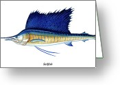 Miami Painting Greeting Cards - Sailfish Greeting Card by Charles Harden