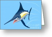 Jumping Digital Art Greeting Cards - Sailfish Diving Greeting Card by Aloysius Patrimonio