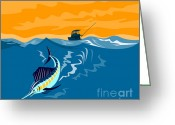 Sea Digital Art Greeting Cards - Sailfish Fish Jumping Retro Greeting Card by Aloysius Patrimonio