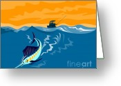 Jumping Digital Art Greeting Cards - Sailfish fishing boat Greeting Card by Aloysius Patrimonio