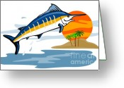 Jumping Digital Art Greeting Cards - Sailfish Island Greeting Card by Aloysius Patrimonio
