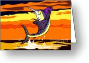 Jumping Digital Art Greeting Cards - Sailfish Jumping retro Greeting Card by Aloysius Patrimonio