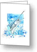 Sea Life Mixed Media Greeting Cards - Sailfish Leap Greeting Card by Amber M  Moran
