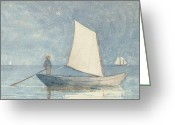 Bay Painting Greeting Cards - Sailing a Dory Greeting Card by Winslow Homer