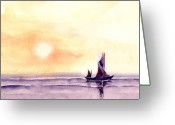 Boat Greeting Cards - Sailing Greeting Card by Anil Nene
