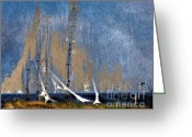 Arne J Hansen Greeting Cards - Sailing Greeting Card by Arne Hansen