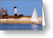 Sailing Cat Greeting Cards - Sailing Around Sandy Neck Lighthouse Greeting Card by Charles Harden