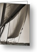 Sepia Greeting Cards - Sailing Beneteau 49 Sloop Greeting Card by Dustin K Ryan