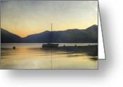 Romantic Greeting Cards - Sailing Boat In The Sunset Greeting Card by Joana Kruse