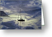 Back Light Greeting Cards - Sailing Boat Greeting Card by Joana Kruse