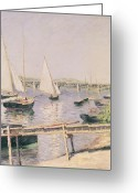 Mooring Greeting Cards - Sailing boats at Argenteuil Greeting Card by Gustave Caillebotte