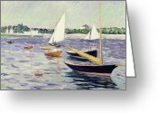 Argenteuil Greeting Cards - Sailing Boats at Argenteuil Greeting Card by Gustave Caillebotte