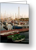 Barcelona Mixed Media Greeting Cards - Sailing Boats Barcelona Greeting Card by Louise Fahy