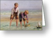 Shore Painting Greeting Cards - Sailing Boats  Greeting Card by Edith Hume
