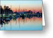 Coal  Greeting Cards - Sailing Boats In Coal Harbour Greeting Card by Dean Bouchard (Being There Photography)