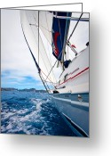 Sailboat Greeting Cards - Sailing BVI Greeting Card by Adam Romanowicz