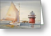 Sailing Cat Greeting Cards - Sailing by Buglight  Greeting Card by P Anthony Visco