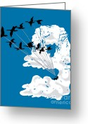 Goose Digital Art Greeting Cards - Sailing Cloud Nine Greeting Card by Laura Brightwood