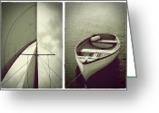 Shelton Greeting Cards - Sailing Diptych Greeting Card by Patricia Strand