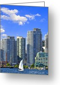 Highrises Greeting Cards - Sailing in Toronto harbor Greeting Card by Elena Elisseeva