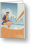 Lake Union Greeting Cards - Sailing Lake Union in Seattle Greeting Card by Mitch Frey