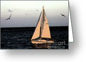 Diamond Head Greeting Cards - Sailing off of Diamond Head Greeting Card by Tommy Anderson