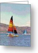 Sports Digital Art Greeting Cards - Sailing on a Utah Lake Greeting Card by Steve Ohlsen
