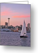 Seattle Waterfront Greeting Cards - Sailing Puget Sound Greeting Card by Adam Romanowicz