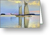 Sea Scape  Greeting Cards - Sailing Sailin Away yay yay yay Greeting Card by Byron Fli Walker