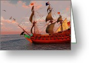 Sailboat Picture Greeting Cards - Sailing Ship Greeting Card by Corey Ford