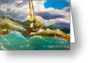 Pamela Meredith Greeting Cards - Sailing Ship in a Storm Greeting Card by Pamela  Meredith