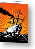 Sea Digital Art Greeting Cards - Sailing Ship Retro Woodcut Greeting Card by Aloysius Patrimonio