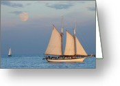 Moonrise Photo Greeting Cards - Sailing ship with moon Greeting Card by Abhi Ganju
