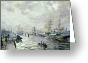 1889 Greeting Cards - Sailing Ships in the Port of Hamburg Greeting Card by Carl Rodeck