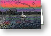 Cityscape Digital Art Greeting Cards - Sailing South Lake Union Greeting Card by Tim Allen