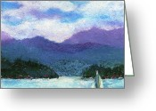 Waves Pastels Greeting Cards - Sailing the Lake Greeting Card by David Patterson
