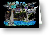 Lake Union Greeting Cards - Sailing The Neighborhood Greeting Card by Tim Allen